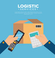 logistic services with hands vector image vector image