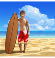 male surfer vector image vector image