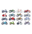 motorcycle and scooter set bikes and choppers vector image vector image