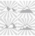Mountain gray icons on striped background vector image vector image