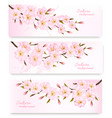 Nature spring banners with al pink sakura vector image
