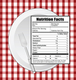 nutrition facts on table vector image