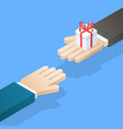 one hand giving gift box to other vector image vector image