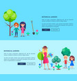 people in botanical garden web banner with texts vector image