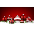 Red winter background with christmas balls vector image vector image