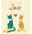 Romantic cats couple vector image