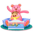 scene with little girl in crib with giant teddy vector image vector image
