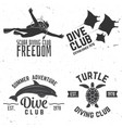 set of diving club badges vector image vector image