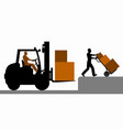 silhouette loader on a white background vector image vector image