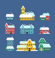 snow roof houses cold season urban snowy city vector image