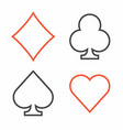 suit of playing cards thin line style vector image