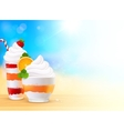 Sweet summer desserts on blurred seascape vector image