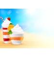 Sweet summer desserts on blurred seascape vector image vector image