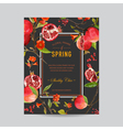 Tropical Pomegranate and Flowers Colorful Frame vector image vector image