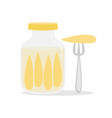 with jar of pickled corns vector image