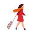 woman in airport going on vacation female vector image vector image