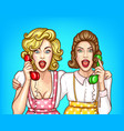 women talk on the phone excited housewives vector image vector image