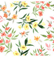 yellow and red flowers tiny floral seamless vector image