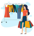 yong woman at shopping vector image