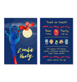 zombie party invitation with blue monster hand vector image