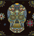 day of the dead sugar skull seamless pattern vector image