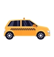 Traditional yellow taxi with checker pattern vector image