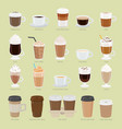 set of coffee types and packages coffee menu vector image