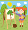girl draws on canvas in the forest vector image