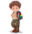 a brunette boy scout vector image