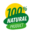 Abstract logo for 100 natural products vector image vector image