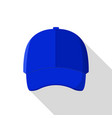 blue front baseball cap icon flat style vector image vector image
