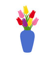 blue vase with blooming flowers for decoration vector image