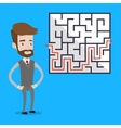 Businessman looking at the labyrinth vector image vector image