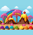 candy land with chocolate mountains and icecream vector image vector image