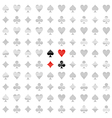 Card Suit White Line Pattern Seamless Background vector image