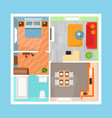 cartoon apartment floor plan top view card poster vector image vector image