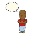 cartoon tough guy with thought bubble vector image