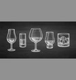 chalk whiskey glasses vector image vector image
