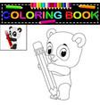 cute happy panda coloring book vector image