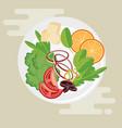 dish with healthy food salad vector image