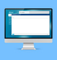 email template on computer screen vector image vector image