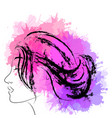 fashion portrait of woman in profile with vector image vector image