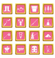 fishing tools icons pink vector image vector image