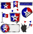 glossy icons with flag of san antonio vector image