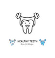 healthy teeth icon strong tooth holds the barbell vector image