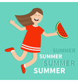 Hello summer greeting card Girl jumping vector image vector image