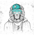 hipster animal lion dressed in cap like rapper vector image