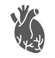 human heart glyph icon anatomy and biology vector image vector image