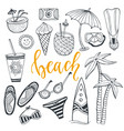 icon set summer beach holidays with surfboard vector image vector image