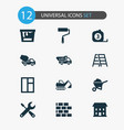 industry icons set with excavator color can vector image vector image